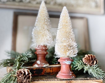 Christmas Bottle Brush Tree Salvaged Wood BARN RED Flocked White Tree Vintage Antique Architectural Chippy  Farmhouse Christmas Primitive