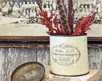Vintage SUTLIFF NUMBER 79 Pipe Tobacco Tin Canister With Lid Box Farmhouse Decor Chippy White 8 OZ