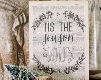 Tis The Season To Be Jolly Sign Vintage Dictionary Art Print Wood Sign Farmhouse Christmas Decor Fixer Upper Decor Carol Sign