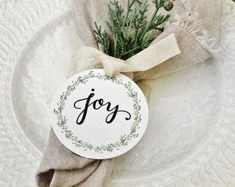 JOY Gift Tags CHRISTMAS Place Card Napkin Ring Name Card Hand Lettered Calligraphy Laurel Wreath French Farmhouse Decor Card Fixer Upper