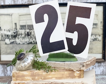 Vintage Number 25 Price Card Sign Set Farmhouse Decor Cardboard Christmas Decor Grocery Salvage USA
