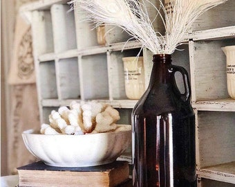 Antique Amber Glass Jug Bottle Brown LARGE Vase Glass Apothecary Pharmacy Fall Farmhouse Decor Industrial Decor Salvage