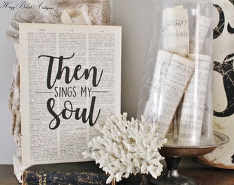 Then Sings My Soul How Great Thou Art Hymn Sign Vintage Dictionary Art Print Bible Verse Hymnal Book Page Wall Sign Farmhouse Decor Scriptur