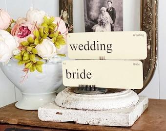 WEDDING Flash Cards LARGE Vintage Inspired Flashcard SET Of 8 Farmhouse Decor Party Favor Banner Bridal Shower Marriage
