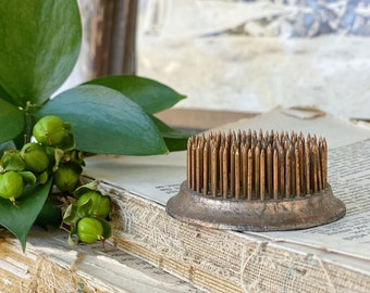 Vintage Metal Floral Frog COPPER Antique Flower Spike Display Farmhouse Decor Fixer Upper Style Industrial Salvage