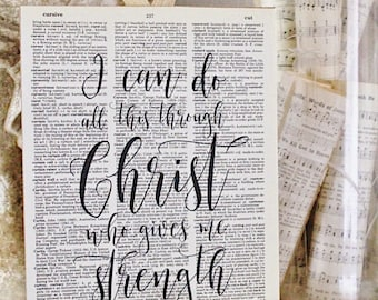 All Things Through Christ Dictionary Art Print Sign Book Page Wall Scripture Verse French Farmhouse Decor Bible