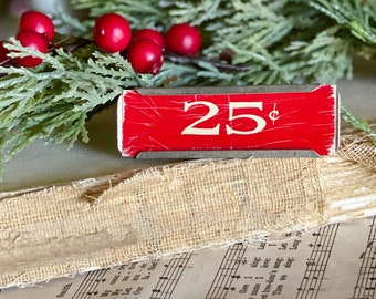 Vintage Metal Price Tag Holder RED 25 CENT Antique Mercantile Shelf Clip Numbers Industrial Sign Farmhouse Decor Christmas Decor