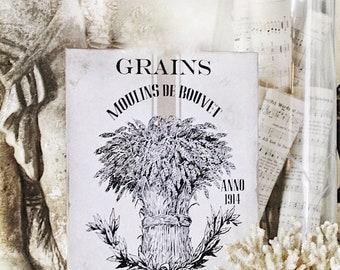 Vintage GRAINS Wood Sign Farmhouse Decor Grainsack French Page Wall Art Print