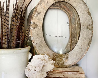 Antique Wooden OVAL Frame Cream and Gold Gilded Ornate GESSO Farmhouse Decor