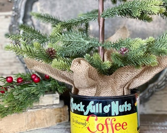 Vintage Coffee Can CHOCK FULL of NUTS Tin Canister Farmhouse Decor industrial Christmas Decor