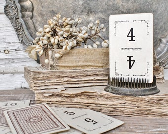 Antique Flinch Number Card Game Farmhouse Decor Fixer Upper Style Cardboard Black Number BROWN Back