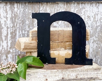 """Vintage Metal Letter """"N"""" Marquee Sign Chippy BLACK  Farmhouse Decor Industrial Salvage Fixer Upper Decor"""