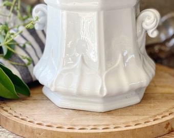 Antique White Ironstone Sugar Bowl Biscuit Jar England Ironstone Farmhouse Decor English Ironstone