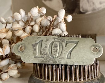 Antique Brass Number 107 Sign House Room Plate Locker Cow Tag Farmhouse French Country Chic Industrial Salvage Decor Jewlery Parts