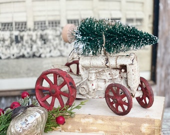 Antique Tractor Red and White Chippy Cast Iron With Flocked Green Bottle Brush Vintage Toy Farmhouse Christmas Decor