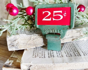 Vintage Metal Price Tag Holder GREEN with RED 25 CENT Antique Mercantile Shelf Clip Numbers Industrial Sign Farmhouse Decor Christmas Decor