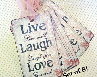 LIVE LAUGH LOVE Gift Tags Vintage Pink Farmhouse Valentine French Wedding  Favor Country Shabby Chic