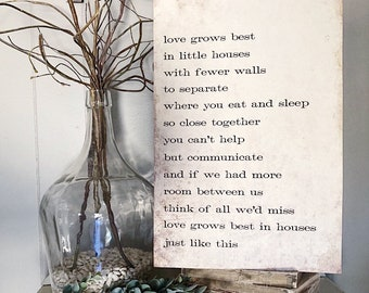 LOVE GROWS BEST In Little Houses Sign Wood Vintage Farmhouse Decor Large Poster Mounted Book Page Decor Inspirational Housewarming Family