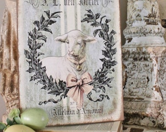Vintage LAMB Sign Grain Sack Laurel Wreath Easter Wood Sign French Farmhouse Decor Book Page Wall Art Print Farmhouse DecorLAMB
