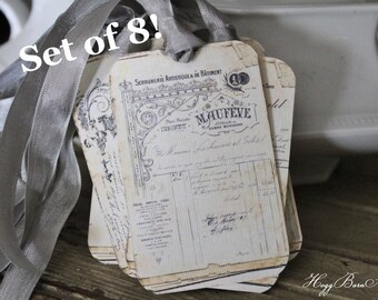 French Receipt Gift Tags Vintage Ledger  Gift Tags Card French Writing Typography Shabby Farmhouse Decor