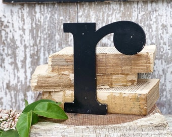 """Vintage Metal Letter """"R"""" Marquee Sign Chippy BLACK  Farmhouse Decor Industrial Salvage Fixer Upper Decor"""