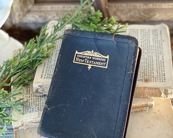 Antique New Testament Christian Worker's Bible Inspirational Book Devotional Church Farmhouse Decor