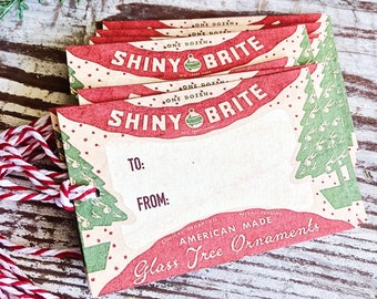 Christmas Gift Tags Vintage SHINY BRITE Farmhouse Decor Gift Wrap Tree Ornament Label