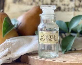 Vintage Glass SPICE Bottle With Lid POULTRY SEASONING Farmhouse Kitchen Decor Seasoning Jar