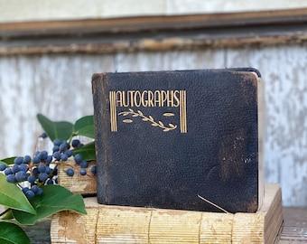 Antique AUTOGRAPHS Book SCHOOL 1936 Memo Journal Year Book The Elite Album