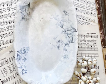 Antique White Ironstone Relish Soap Dish Bowl Platter Scallop Blue Transferware Grungy  Farmhouse Decor ROYAL ENGLAND WINDSOR