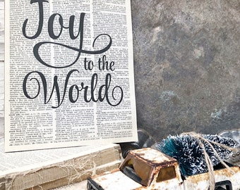 JOY TO The WORLD Christmas Sign Vintage Dictionary Art Print Farmhouse Christmas Decor Fixer Upper Decor Christmas Carol Book Page Wall