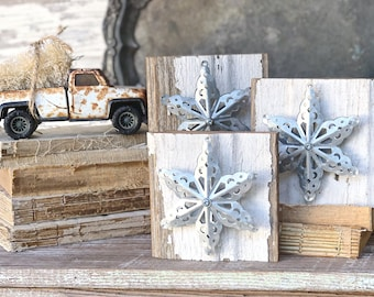 Architectural Salvaged Chippy White CHRISTMAS SNOWFLAKE Wood Reclaimed Farmhouse Decor Fixer Upper Christmas Decor