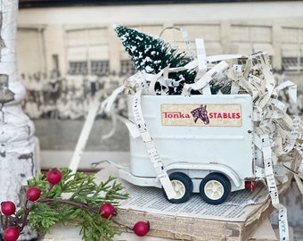 Christmas TONKA Stables Trailer Truck With Flocked GREEN Bottle Brush Tree Chippy White Vintage Toy Farmhouse Christmas Vintage Sheet Music