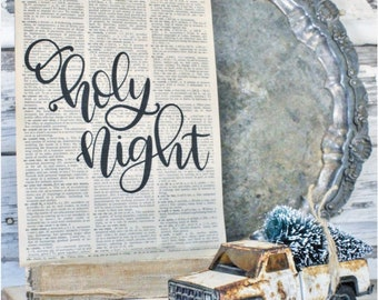 Oh Holy Night Sign Vintage Dictionary Art Print Farmhouse Christmas Decor Fixer Upper Decor Christmas Carol Book Page Wall Thrill Of Hope