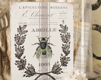Vintage French Bee Wood Sign Farmhouse Decor Grainsack Book Page Wall Art Botanical Print