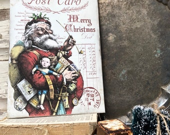 Vintage Santa Christmas Wood Sign Red Post Card Toys Farmhouse Christmas Decor Vintage Advertising Post Card Sign Wall Art Print St Nick