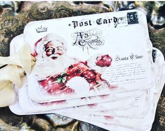 SANTA Christmas Gift Tags Vintage SANTA CLAUS Red Classic Sled Farmhouse Decor Christmas Card French Shabby Gift Wrap