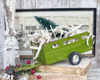 Vintage GREEN Nylint Trailer  With Flocked GREEN Bottle Brush Tree Chippy White Vintage Toy Farmhouse Christmas Vintage Sheet Music