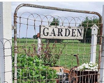 GARDEN Sign Salvage Barn Wood Farmhouse Decor Reclaimed White Chippy Paint French Country Architectural Market Painted Rustic Wall Sign
