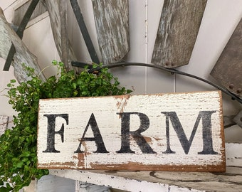 FARM Farmhouse Sign Painted Salvage Barn Wood Reclaimed White Chippy Paint French Architectural Farmhouse Decor Painted Fixer Upper Decor