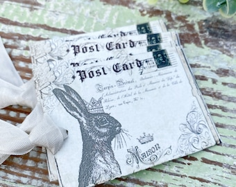 EASTER Vintage Gift Tags Post Card Rabbit Bunny Crown French Farmhouse Decor Card  Shabby