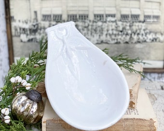 Antique White Ironstone Relish Dish Bowl Soap MEAKIN England English 1800 Droit Ironstone Tray Farmhouse Decor
