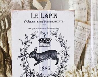 Vintage Rabbit Wood Sign Farmhouse Decor Grainsack French Le Lapin Book Page Wall Art Print Fixer Upper Farmhouse Easter Decor