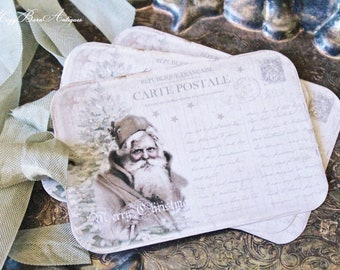 SANTA Christmas Gift Tags Vintage Santa POST CARD Farmhouse Decor Card French Shabby Gift Wrap Father Christmas