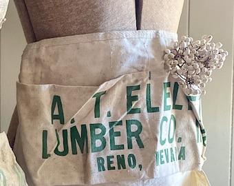 Vintage Nail Apron IDEAL  Eleleth Lumber Company  Farmhouse Decor GREEN Typography Paint Brush Holder CHRISTMAS Decor Reno Nevada