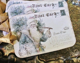 Christmas Vintage Gift Tags SANTA with TREE Post Card  Farmhouse  Decor Card French Shabby Chic Gift Wrap