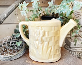 Antique Creamy Yellow Ironstone Pitcher Watering Can LARGE Farmhouse Decor Garden USA McCOY