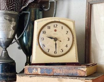 Vintage TELECHRON Metal Alarm Clock Face YELLOW Farmhouse Decor Industrial Salvage Art Deco USA