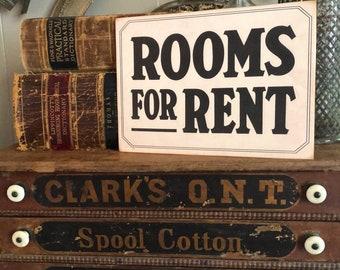 ROOMS FOR RENT Wood Sign Vintage Farmhouse Decor Wall Art Print Fixer Upper Flea Market Decor Black Aged Cream Sign