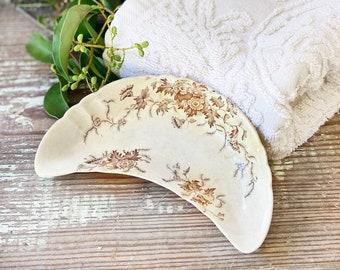 Antique White Ironstone BROWN Transferware Bone Dish Soap Dish Scalloped Farmhouse Decor E M Co Avor